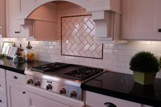 tile backsplash white heringbone - using the black line but will add the other border on the outside of the black - Kitchen