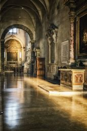 Warm Glow by Joan Carroll. San Pietro in Vincoli (St Peter in Chains) is a Roman Catholic church and minor basilica in Rome, best know for being home of Michelangelo's statue of Moses, part of the tomb of Pope Julius II. It was first built on older foundations in 432-440 CE to house the relic of the chains that bound Saint Peter when he was imprisoned in Jerusalem. The Empress Eudoxia presented them to Pope Leo I.