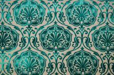 Prestigious Delphine Teal Blue / Green Damask Cut Velvet Curtain Upholstery Fabric | eBay