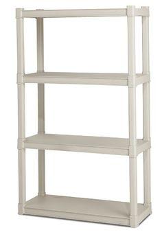 Sterilite 01648501  4-Shelf Shelving Unit, Platinum