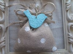 polka dot burlap bag