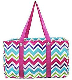 Multicolored Chevron Pink Trim Utility Tote - Handbags, Bling & More!