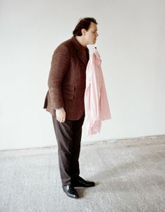 "Erwin Wurm [Austria] (b 1954) ~ ""One Minute Sculpture"", 1997.   #art #sculpture #figurative #conceptual_art #installation"