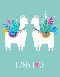 Llama Love illustration, cute hand drawn elements and design for nursery design, poster, birthday greeting card Illustration , Alpacas, Llama Drawing, Drawing Pin, Llama Pictures, Llama Arts, Cute Llama, Love Illustration, Nursery Design, Birthday Greeting Cards