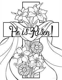 He is Risen 2 Easter coloring pages for children by KristaHamrick