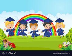 Happy Little Kids Graduation Celebration On Stock Illustration 320583416 Graduation Songs, Graduation Picture Poses, Kindergarten Graduation, Graduation Celebration, Graduation Pictures, Free Vector Illustration, Illustrations, Rainbow Background, Activity Sheets