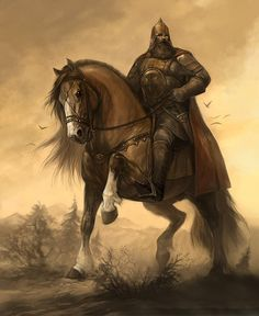 Богатырь / Gigantic hero of Russian legend and mythology, Bogatyr and his steed..
