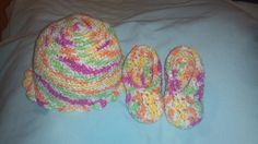 Multicolored soft Baby hat and matching by DJCrochetCreations, $23.00
