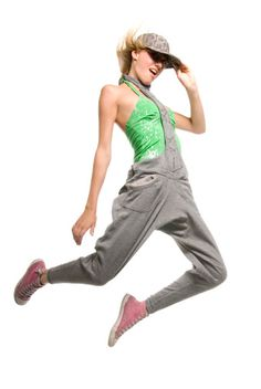 Imagen libre de derechos: Young girl jumping in air