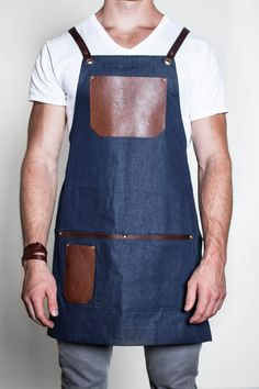 Hand-Crafted Rustic Denim and Leather Apron by AuthenticSundry Leather Overalls, Leather Apron, Leather Projects, Leather Design, Leather Working, Dress Codes, Leather Craft, Sewing Hacks, What To Wear
