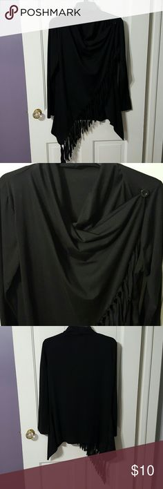 Long sleeve black wrap. Long sleeve black wrap. Cute with solid tank underneath. Tag says 'XL' , but fits like M-L Tops