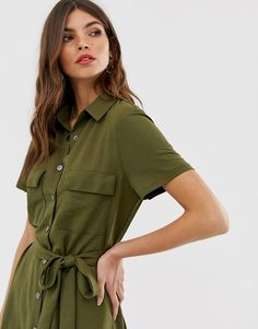 590c85173ac Vila - Robe chemise mi-longue fonctionnelle à boutons - Kaki