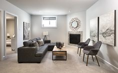 This is the optional finished basement in our new Ashton model in Findlay Creek. Finished Basements, New Community, New Home Builders, Semi Detached, Model Homes, Tartan, Townhouse, New Homes, Building