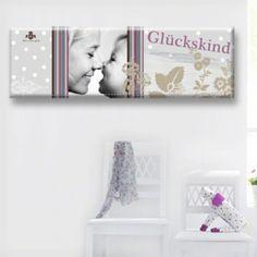 """Zu finden auf http://www.my-little-store.de/osqskn3png5td3bq:122  Wunderschönes Foto-Kunstwerk """"Lollypop"""" von KLEIN & KöNIGLICH in rosa mit Wunschfoto, -name und -datum in der Größe 90cm x 30cm."""
