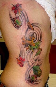 I love the idea of a fall leaves tattoo :) Fall Leaves Tattoo, Autumn Tattoo, Autumn Leaves, Foot Tattoos, Leaf Tattoos, Body Art Tattoos, Tatoos, Geniale Tattoos, Body Modifications