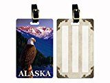 American Bald Eagle with Alaskan Mountain Landscape in the Background Luggage Tag with Leather Buckle by Karen Whitworth