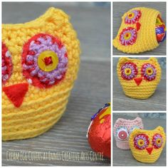 Crochet Cream egg covers at Ennis Creative Arts Centre.