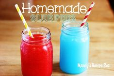 Homemade Slurpees: 1 packet of Kool-Aid, any flavor 2 c. Club Soda 1/2 c. sugar 2 1/2 c. crushed ice  How You Do It Put the Kool-Aid powder, sugar, and 1 c. Club Soda in a blender. Process till smooth and dissolved. Add the ice and blend until smooth. Add the remaining cup of Club Soda and blend. It should be slushy but put it in the freezer for about 30-45 minutes to thicken up.