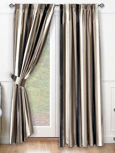 Silken Stripe Beluga Curtains from Curtains 2go