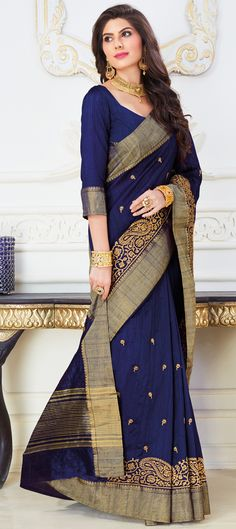 Traditional Blue color Saree in Raw Silk, Silk fabric with Thread work Traditional Sarees, Thread Work, Silk Fabric, Sari, Blue, Color, Fashion, Saree, Moda