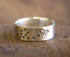 Sterling Silver Bee Band Ring by Monkeys Always Look monkeysalwayslookshop.com --- I need this!!!!