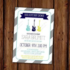 Rock a Bye Baby Shower Invitation Guitar Music by ScriptivaPaper