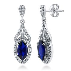 BERRICLE Rhodium Plated Sterling Silver Cubic Zirconia CZ Art Deco Halo Dangle Drop Earrings *** More info could be found at the image url. (This is an affiliate link and I receive a commission for the sales)