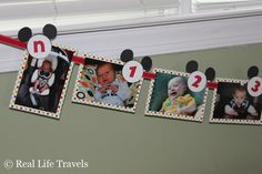 first_birthday_banner...only with ladybugs instead of Mickey