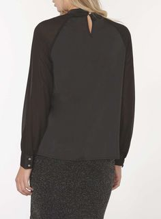 Womens Black Cut Out Long Sleeve Top- Black