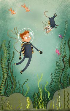 Risks And Rewards Of Scuba Diving Underwater Painting, Museum Poster, Beatrix Potter, Children's Book Illustration, Whimsical Art, Cute Art, Art Drawings, Character Design, Scuba Diving