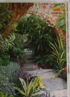 In dit binnenplaatsje is de nep doorgang in de muur ('Moongate') de blikvanger. Groene, blauwe en grijze tinten in de beplanting geven de tuin een rustige uitstraling. Het pad lijkt door te lopen dankzij een spiegel die vlak achter de bamboe is geplaatst.