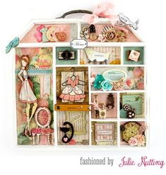 Altered Doll House tray by Julie Nutting for Prima Marketing for summer Prima Paper Dolls, Prima Doll Stamps, Altered Boxes, Altered Art, Julie Nutting, Shadow Box Memory, Mundo Craft, Paper Tags, Home And Deco