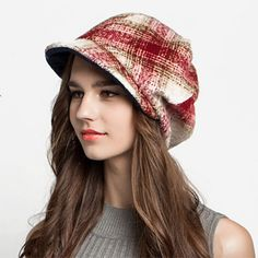 Fashion plaid beret hat for women wool winter hats