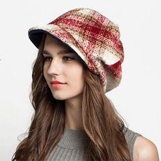Fashion plaid beret hat for women wool winter hats