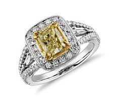 Flourish Fancy Yellow Diamond Halo Ring in 18k White Gold (2.10 ct. tw.)  #bluenile