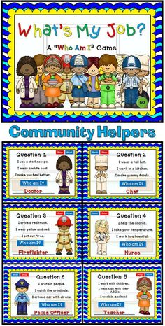 """My first Social Studies PPT Game! This """"Who Am I"""" game will be tons of fun for your students. There are 10 questions and you just click on each question to go to it. Each question has 3 clues and student have to guess which community helper it describes. Clues include tools they may use, what they do, and where they may work. Great as a whole class or rainy day activity."""