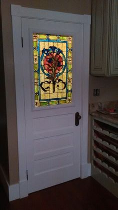Kitchen Pantry door with stained glass