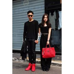 45 Couples Who'll Make You Rethink Matching With Your S.O. #refinery29  http://www.refinery29.com/2014/10/76710/asian-matching-couples-trend#slide31  You know the rule about not matching your bag to your shoes? Doesn't apply here.