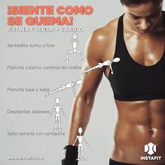 Fuerza + Cario. Para quemar una gran cantidad de calorías, haz una mezcla de ejercicios musculares con ejercicios cardiovasculares.