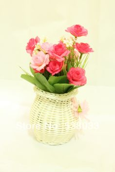 New 1 PCS Artificial Silk Flower Yellow  Pink Small Rose+White Plastic Vases  Gift  Wedding Home Decorative Flower $12.99