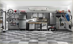 Cheap garage flooring options can still have value. Learn about the different flooring options available for your garage that cost less and still look great. Garage Floor Tiles, Tile Floor, Garage Flooring Options, Garage Systems, Garage Room, Car Garage, Garage Organization, Organization Ideas, Garage Storage