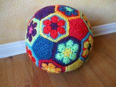 Crocheted African Flower Soccer ball