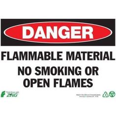 Zing Eco Safety Sign, Danger Flammable Material, 7Hx10W, Recycled Plastic, Multicolor
