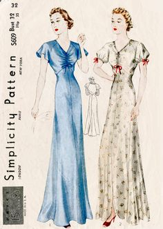 1930s 30s Simplicity S609 evening length gown slip dress negligee lingerie bust 32 b32 repro reproduction