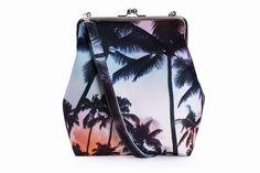 Kolorowa, wodoodporna torebka z biglem - Palmy - Bajaga-Studio - Torby na ramię