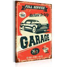 Obraz w styl plakatu vintage. Oldschoolowa dekoracja do mieszkania lub pokoju nastolatka. Wydruk na płótnie w stylu tabliczki z amerykańskiego garażu.