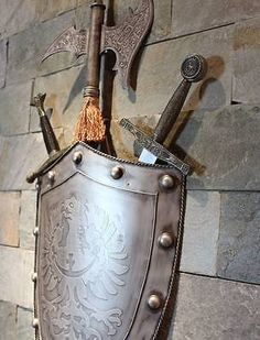 Medieval-Knight-Wall-Decoration-Shied-and-Crossed-Battleax