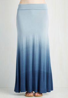 Ombre New World Skirt in Blue. You could conquer easygoing style in your sleep, so show off your tastes at every waking moment in this ombre maxi skirt! #blue #modcloth