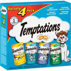 TEMPTATIONS Classic Cat Treats Classic Flavor Variety Pack (Pack of With Our Mouthwatering Menu We have a flavor for every feline Pot Pourri, Cat Feeding, Chicken Flavors, Cat Supplies, Cat Treats, Cat Gifts, Cat Food, Tasty, Snacks