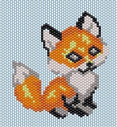 Native Beading Patterns, Seed Bead Patterns, Seed Bead Art, Beaded Banners, Peyote Stitch Patterns, Fox Pattern, Beaded Animals, Plastic Canvas Patterns, Loom Beading